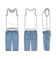 set of male vest and jeans shorts vector image vector image