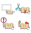 set of open book character with bring board sign vector image vector image