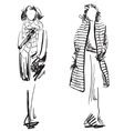 Sketch of woman wearing coat Winter clothes