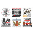 sound record studio music and radio icons vector image vector image