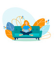 student girl freelancer studying working at home vector image vector image