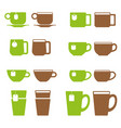 tea and coffee cup icon set mugs with teabags vector image vector image
