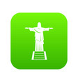the christ the redeemer statue icon digital green vector image