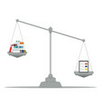 the tablet and books lying on the scales vector image