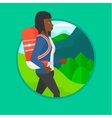 Tourist with backpack hiking vector image vector image