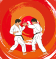 two boys demonstrate karate vector image vector image