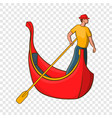 venice gondola and gondolier icon cartoon style vector image vector image