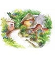 Watercolor rural village in green summer day vector image vector image