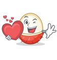 with heart rambutan mascot cartoon style vector image vector image