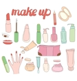 Set with woman cosmetics Objects on white vector image