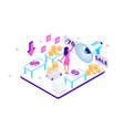 3d isometric customer experience with sales and vector image