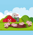 a pig farm landscape vector image