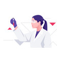 a woman medical scientist works with blood vector image