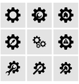 Black tools in gear icon set