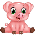 Cartoon adorable baby pig isolated vector image vector image