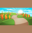 cartoon forest landscape road vector image vector image