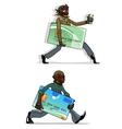 Cartoon thieves with bank cards and money vector image vector image