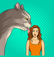 cat licks girl pop art vector image vector image