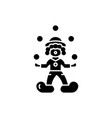 clown juggler black icon sign on isolated vector image