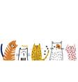creative funny cats border cute hands drawn cat vector image