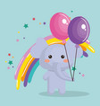 cute elephant with balloons air party sweet kawaii vector image vector image