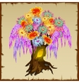 Fairy tree with colorfull foliage of flowers vector image vector image