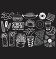 fast food set hand drawn vector image vector image