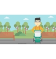 Father walking with baby stroller vector image vector image