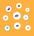 flat icons hippopotamus jackass moose and other vector image vector image