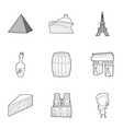 french things icons set outline style vector image vector image