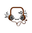 funny headphones isolated cartoon character vector image vector image