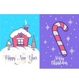 Funny santa set Christmas greeting card vector image