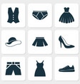 garment icons set collection of dress sneakers vector image vector image