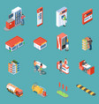 gas station isometric icons vector image vector image