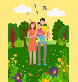happy family spending time in park nature vector image vector image