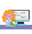 happy teachers day student girl book computer vector image vector image