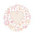 heart with dog icons round vector image vector image