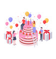 isometric birthday cake party confetti cakes vector image vector image