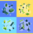 isometric gym objects concept vector image