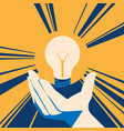 lightbulb in hand with glow lamp flat vector image vector image