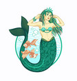 mermaid girl with crown isolated vector image vector image