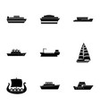 motorship icons set simple style vector image