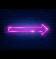 neon arrow pink neon sign with a brick wall vector image