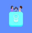 people group on light lamp idea icon creative team vector image