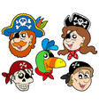 pirate characters collection vector image