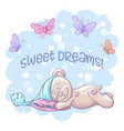 postcard cute sleeping bear and butterflies vector image