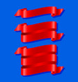red ribbons isolated on blue background vector image