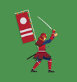 Samurai Warrior Brandishing Sword vector image vector image