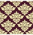 Seamless beige densely floral pattern on violet vector image