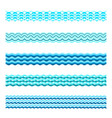 seamless blue water wave tiles set vector image vector image